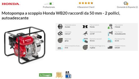 Offerta MOTOPOMPA HONDA WB 20