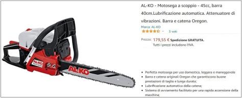 Offerta motosega AL-KO 45 cc