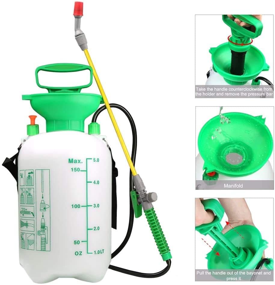Spruzzatore a Pressione 5L VOXON con pompa, ugello a bacchetta completamente regolabile da spruzzo a nebulizzato